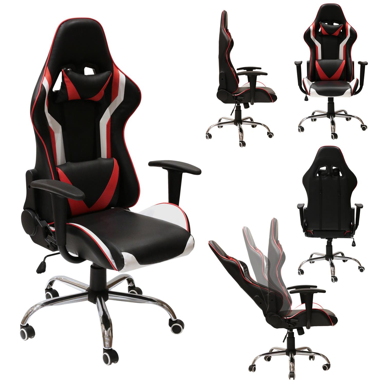 CHAISE GAMER LUXE Noir/Rouge