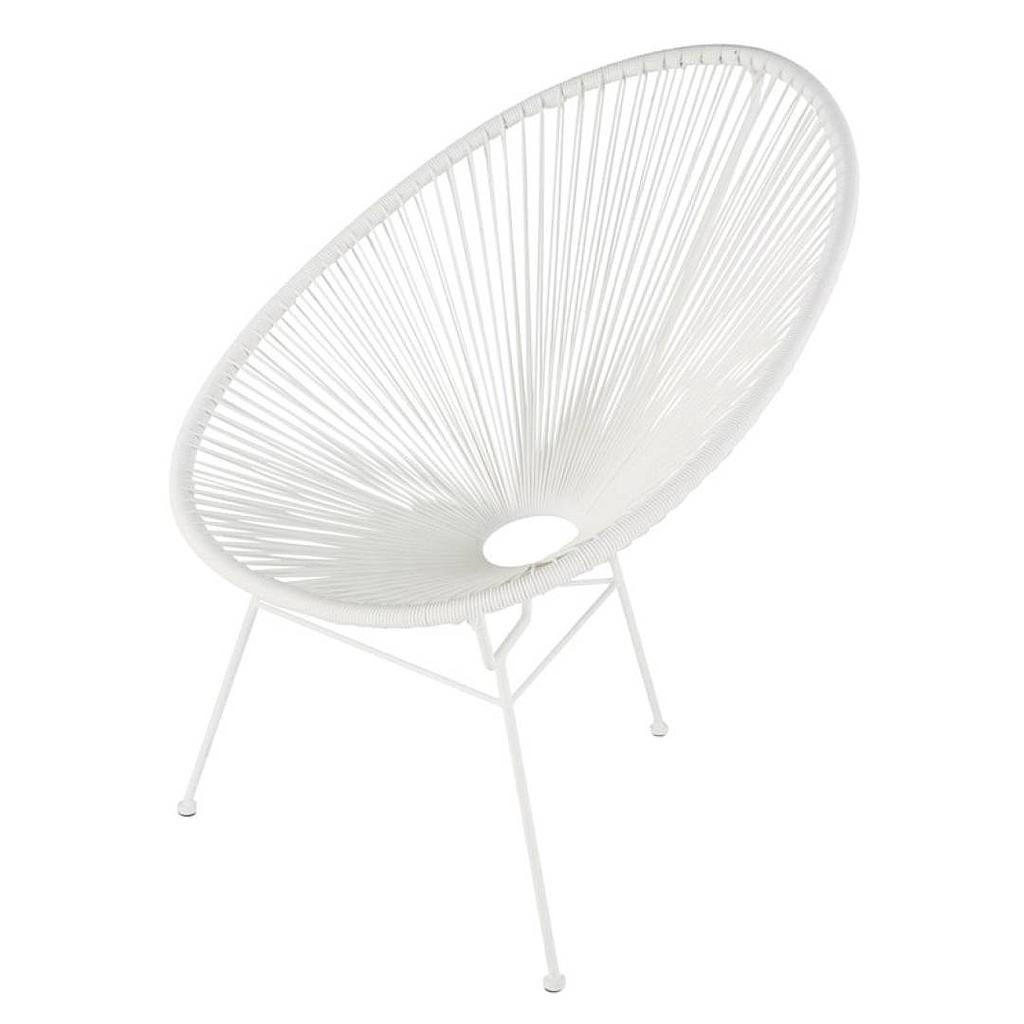 Fauteuil Mexico blanc - effet rotin (ZONS)