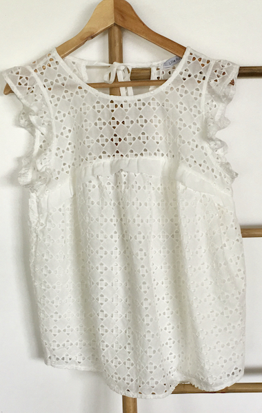 Top blanc broderie anglaise M/L